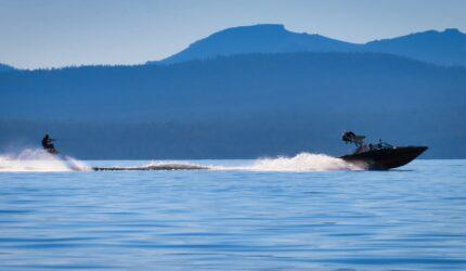 jet ski on a mountain lake
